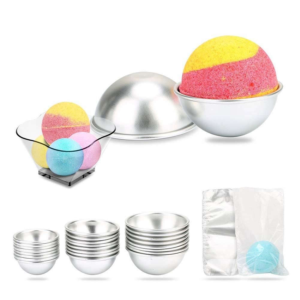 Bath Bomb Mold 24 pcs, Kitchen Supply DIY Bath Bomb Kits Baking Mold Poutine Baking Mould with Light Hemisphere Shape VVDF