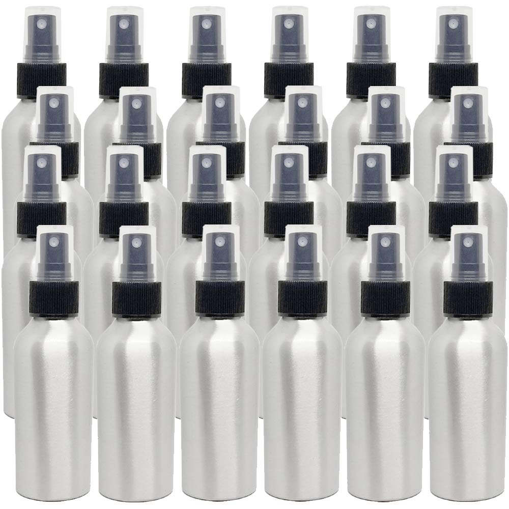 4 fl oz Aluminum Bottle with Black Spray Cap (24 Pack)
