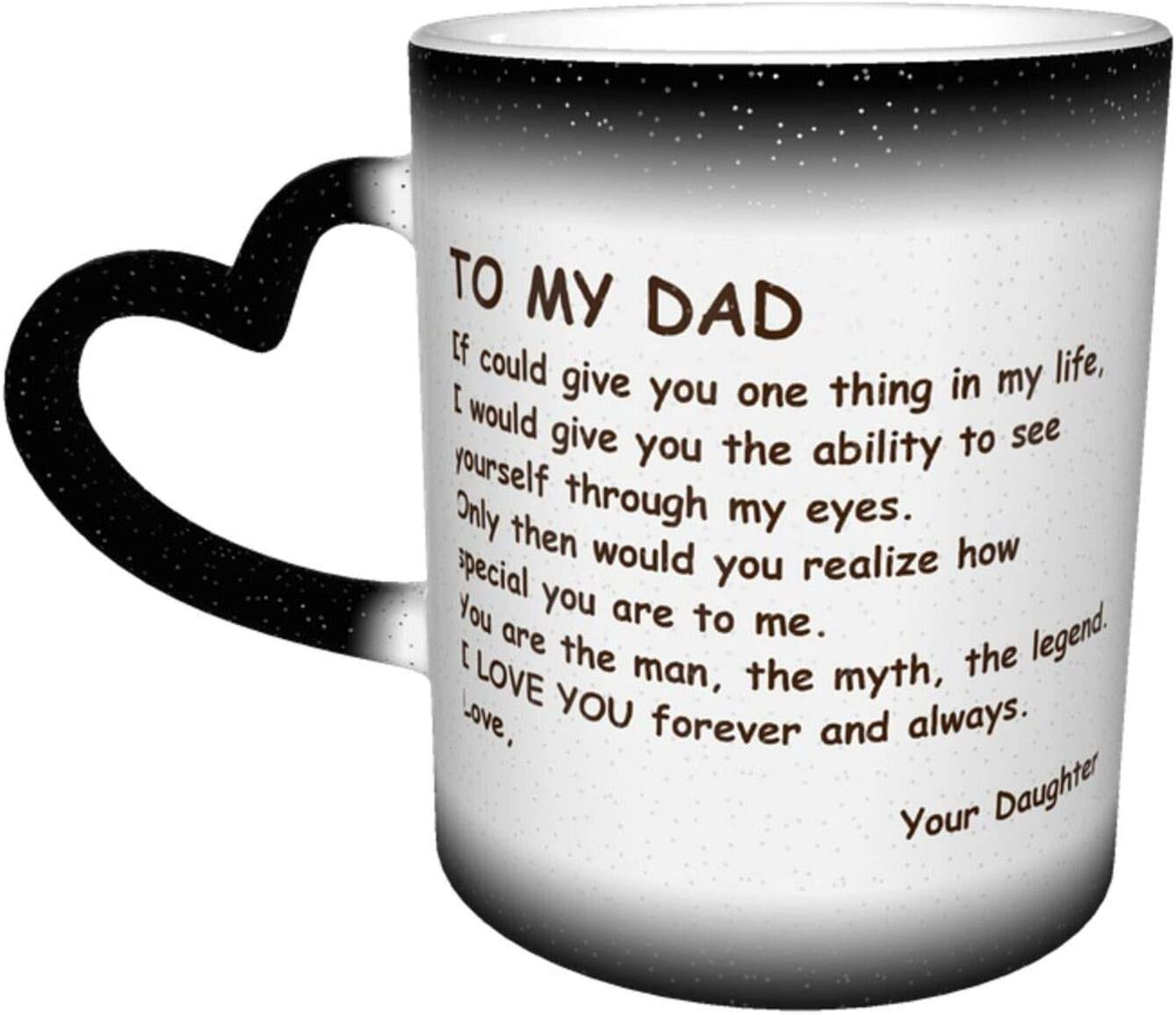 BLUBLU Heat Sensitive Color Changing Mug 11oz Funny Ceramic Coffee Cup Gift for Father Friend - To Dad From Daughter