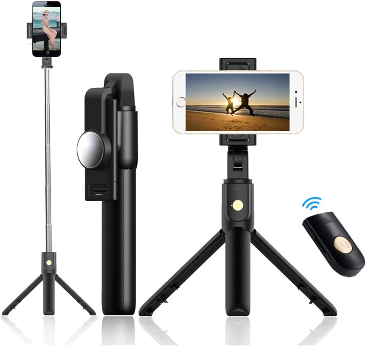 62 inch Ultra-Long Extendable Selfie Stick Tripod Stand Aluminum Alloy All-in-1 with Bluetooth Remote for iPhone XR MAX XS X 8 7 6 Plus Samsung Galaxy S10 S9 S8 Android GoPro Selfie Stick Tripod