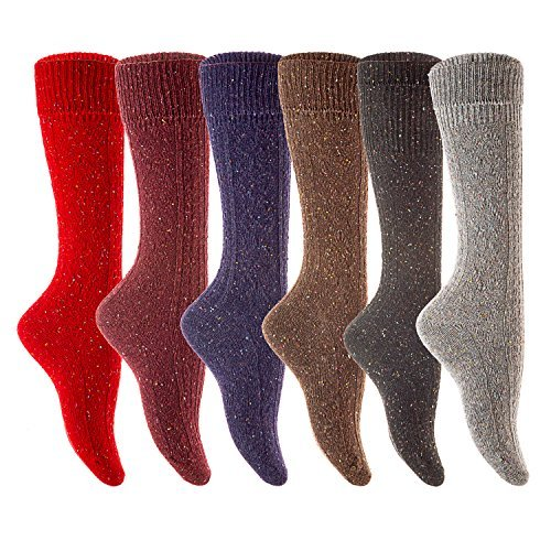 Lovely Annie Women's 6 Pairs Pack Knee Length Wool Socks Size 7-9 Six Colors (Wine,Gray,Coral,Purple,Black,Brown)