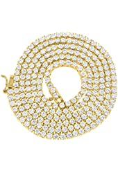 """14k Yellow Gold Finish Lab Diamond Solitaire Tennis Link Iced Out 26"""" Chain Sale -601"""
