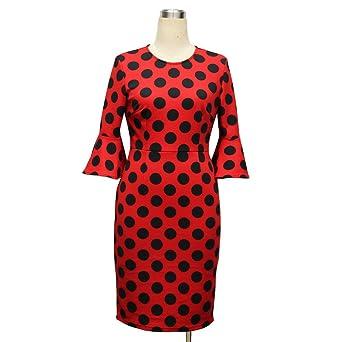 COCO clothing Vestido para Mujer Polka Dots Quinta Manga Volantes Cuello Redondo Lápiz por la Rodilla Vestidos de Coctel Las Mujeres de Primavera-Verano: ...
