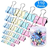 #5: AUSTOR 110 Pcs Colored Binder Clips Paper Clamp Clips Assorted 6 Sizes
