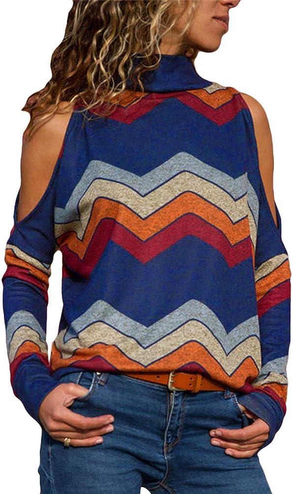 Zengbang Donna Moda T-Shirt a Maniche Lunghe con Spalle Scoperte Stampa Top Magliette a Collo Alto