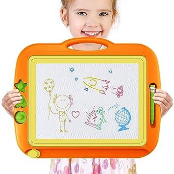 Pizarra Magica para Niños, 43 x 37 cm Portátil Tablero Magnética colorido Almohadilla Borrable de Escritura y Dibujocon 3 Stampers Pluma Mágica para ...