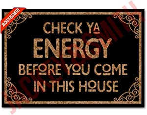 Jackey&Smith Welcome Mat Check Ya Energy Door Mats for Home Entrance Funny Doormat 30X18 Inch, 6 mm Thick Outdoor Doormats Non Slip Mat Rugs for Doorway Felt Fabric