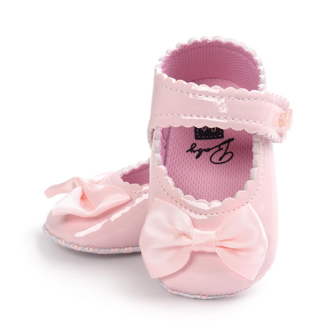 Morrivoe Infant Baby Girls Bowknot Leather Shoes Flat Princess Dress Shoes Toddler Soft Sole Crib Shoes Sneakers