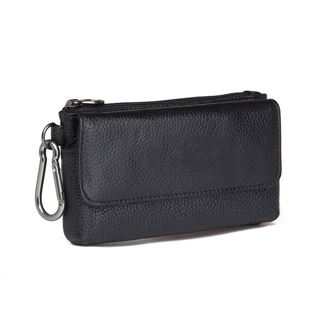 KUAISUF Genuine Leather Hook Waist Pack Bag Hip Bum Coin Purse Pocuh Male Cell Mobile Phone Case Cover Skin Belt Bags