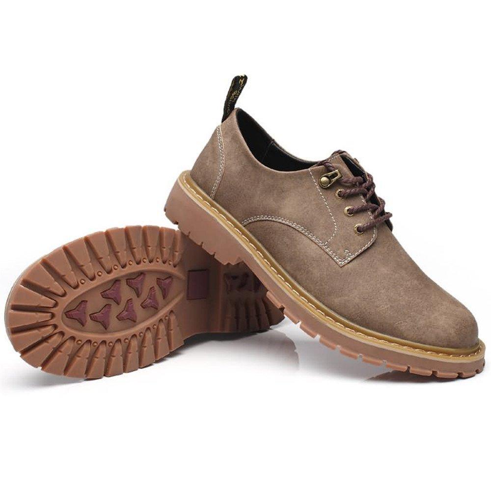 2018 Mens Oxfords, Men's Everyday Oxfords Loafer Solid Color Flat Heel Lace up Shoes (Color : Khaki, Size : 7.5 D(M) US)