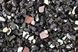 Reflective Fire Pit Fire Glass in Black, 10 Pounds
