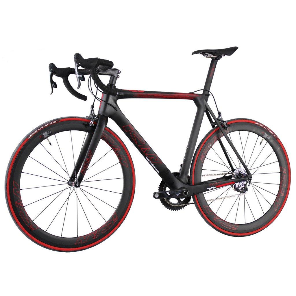 ICAN(アイカン)カーボン ロードバイク SRAM forceグループ UDマット 赤いロゴ 空気力学的なデザイン Vブレーキ 軽量7.36kg B0146H82KM 56cm