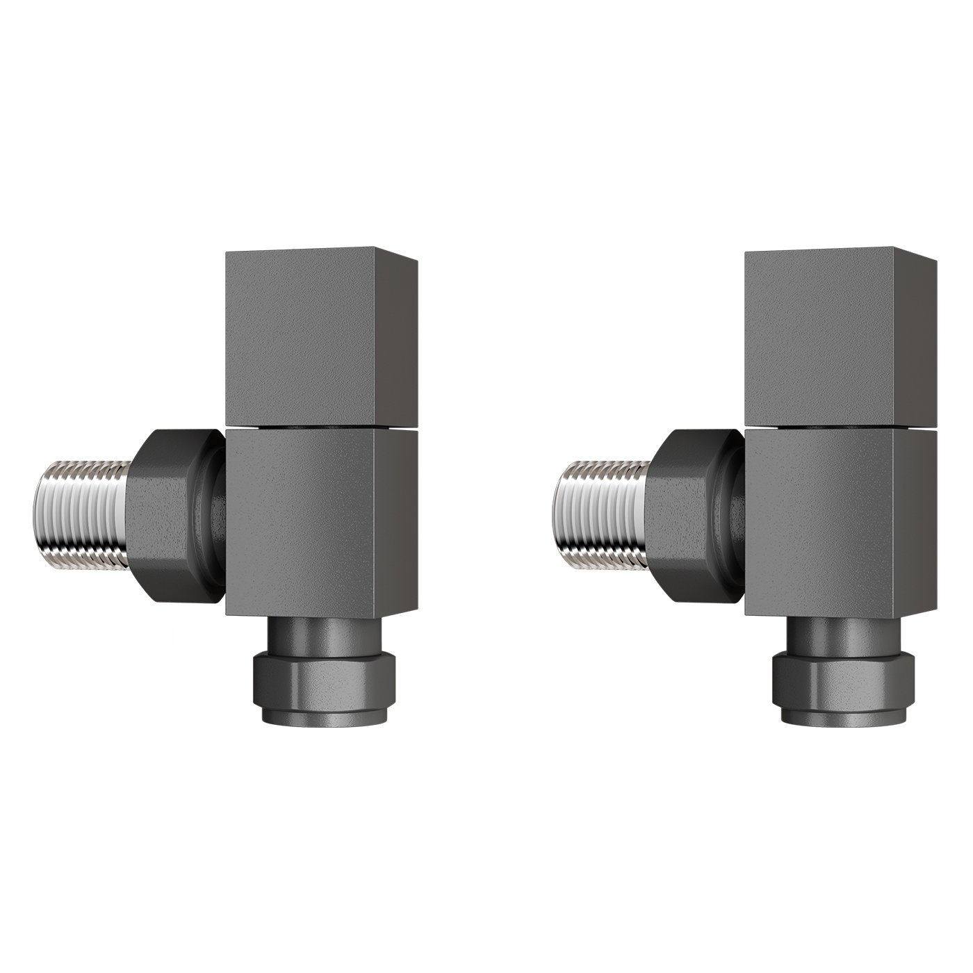 iBathUK 15 mm Standard Connection Square Angled Anthracite Radiator Valves