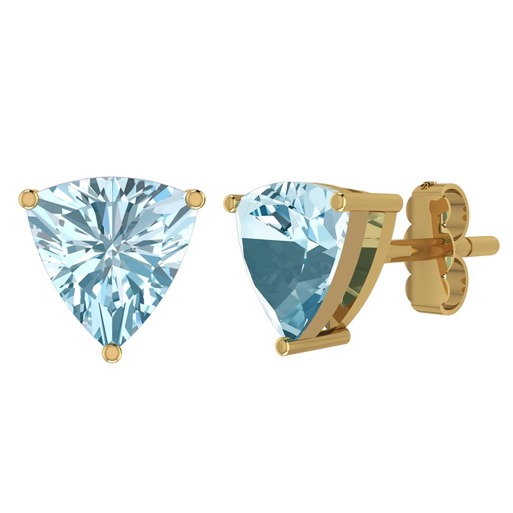 1.60ctw,6x6mm Trilion Genuine Gemstone 14K Gold Post /& Solid 925 Sterling Silver Stud Earrings
