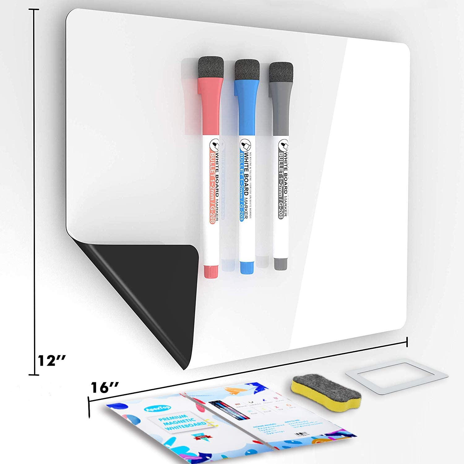 ApexTop Magnetic Dry Erase Whiteboard Sheet for Fridge, 16 x 12 inches White Board Planner and Organizer, 3 Fine Tip Markers and Magnetic Eraser and Photo Frame