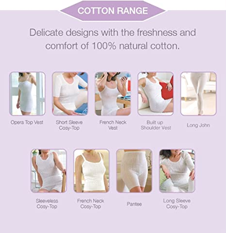 Palm/® British Made Ladies//Womens 100/% Cotton French Neck Vest with Waist Panel