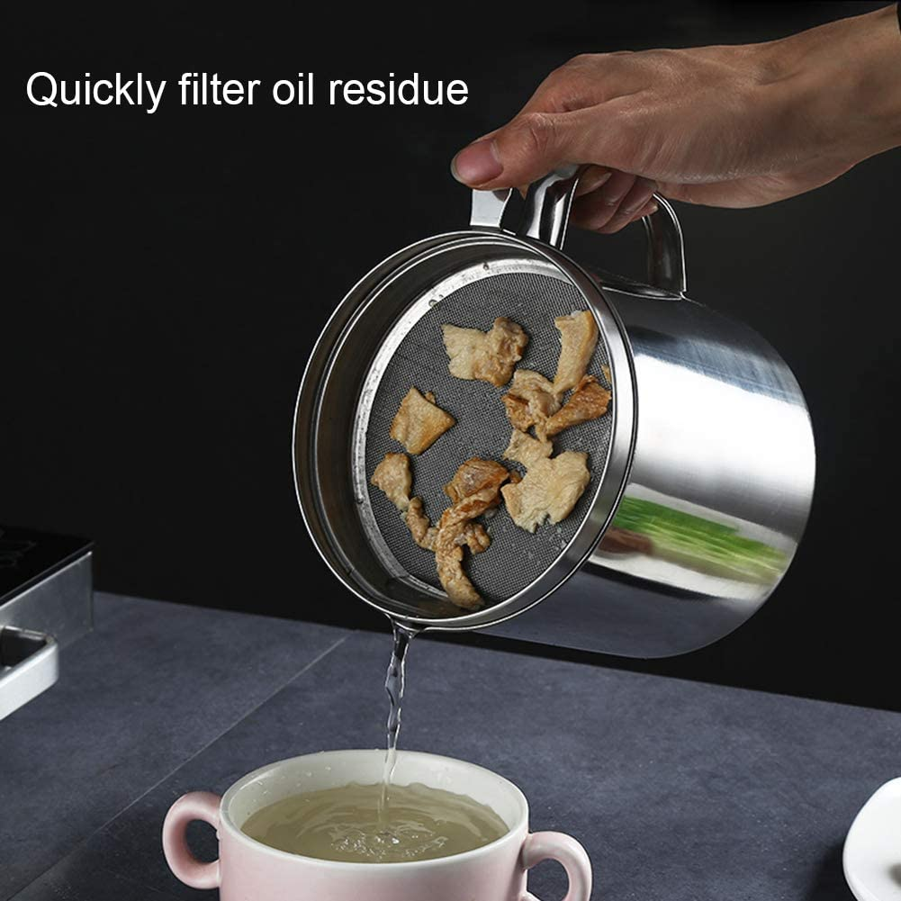 Fettbeh/älter /Ölbeh/älter 1,8 l /Ölsieb mit feinem Sieb ideal f/ür die K/üche SUREH Fettsieb und Beh/älter aus Edelstahl