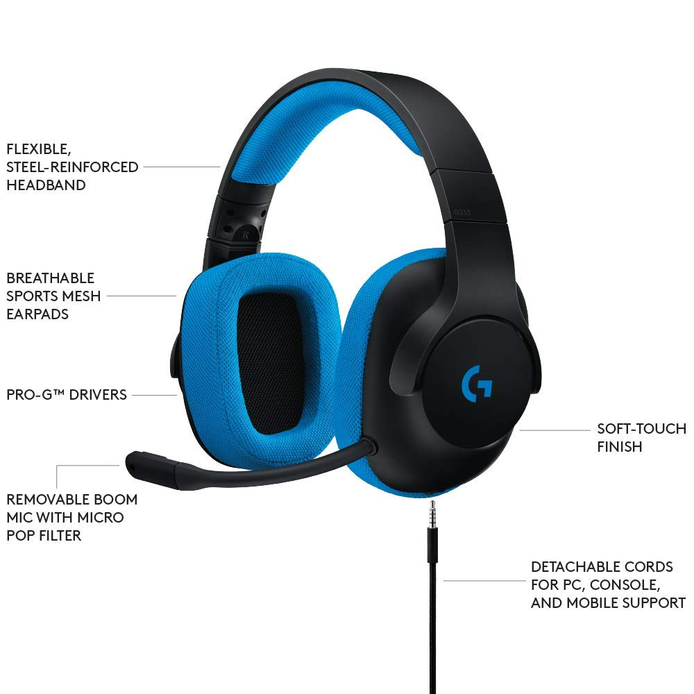 206a51e9a6c Logitech G233 Gaming Headset with Mic (Black and Blue) for PC and Console -  Buy Logitech G233 Gaming Headset with Mic (Black and Blue) for PC and  Console ...
