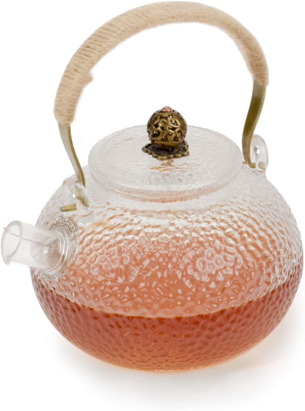 Glass Teapot 25 Ounce Blooming & Loose Leaf Tea pot with Spout Filter, Traditional Japanese Style Handcraft