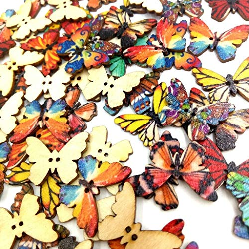 100 Pieces 2-Hole Colorful Butterfly Wooden Sewing Button for DIY Crafts ()