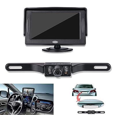 Backup Camera and Monitor Kit For Car,Universal Waterproof Rear-view License Plate Car Rear Backup Camera