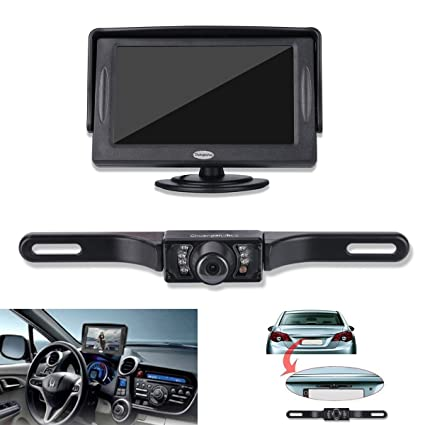Backup Camera and Monitor Kit For Car,Universal Wired Waterproof Rear-view License Plate Car Rear Backup Camera