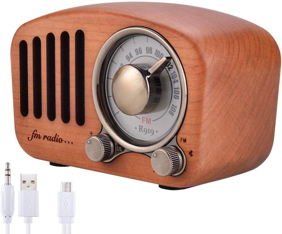 Qoosea Radio Portátil Altavoces Bluetooth Hecho a Mano Retro Estéreo de Madera Bluetooth 4.2 Mini Altavoz con Subwoofer Súper Bajo con Radio FM Conector de Entrada de Audio de 3,5 mm