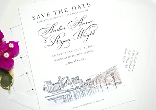 Minneapolis Save the Dates Custom set of 25 cards STD Save our date STD Card Minneapolis Skyline Save the Date Cards Wedding