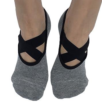 Topwhere® Calcetines de Ballet para Mujeres para Pilates Yoga Dance Low Cut Socks Calcetines Deportivos Antideslizantes de Algodón (Gris): Amazon.es: ...