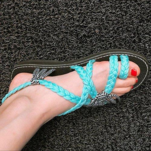 Fashion Sandal Low Beach Sandal Ladies Roman Heel Green Summer 2018 Shoes Flat Strap Sandals Strap Longra Mint Cross Women's Spring Tgw6qv