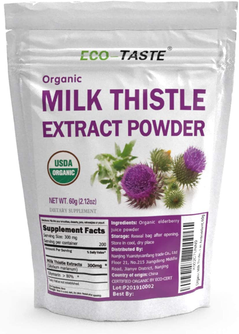 Organic Milk Thistle Extract Powder Concentration 80 Silymarin, Supports Healthy Liver and Acts as an Antioxidant, 60g