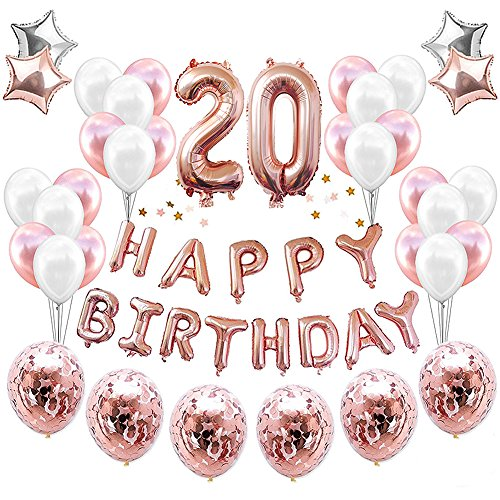 HankRobot 20th Birthday Decorations Party Suppies?38pack?Rose Golden Number 20 Birthday Balloons Happy Birthday Balloon Banner Golden Rose Confetti Balloons Perfect Birthday Decorations for Her