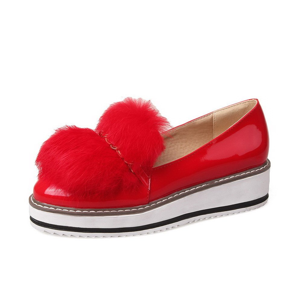 WeiPoot Women's Patent Leather Round Closed Toe Kitten-Heels Pull-on Solid Pumps-Shoes, Red, 42