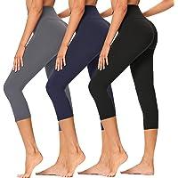Gayhay 3 Pack High Waisted Capri Leggings for Women-Tummy Control Workout Running Pants - Reg & Plus Size
