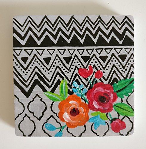 Fridge Magnet, Wooden Mini painting, Refrigerator Magnets, Floral art, Chevron design, Kitchen magnet, Souvenir, Spring decor, Gift for mom, Hand painted magnet, Gift for teacher