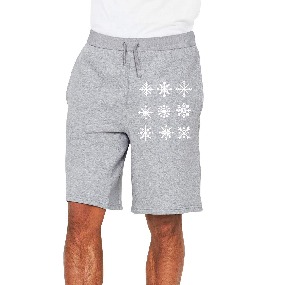 Mens Different Snowflakes White Jogger Shorts Bodybuilding Short