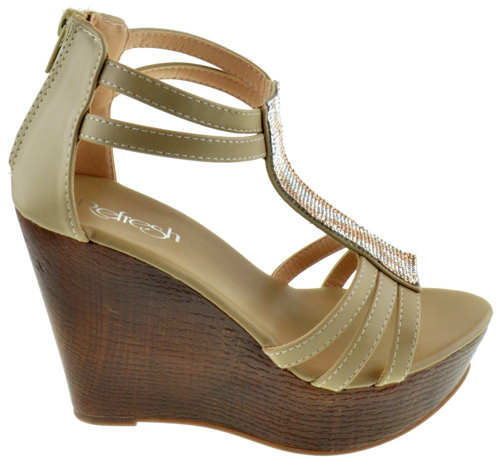 Tampa 06 Womens Strappy Rhinestone Wooden Wedge Sandals B06XP5M2JP 9 B(M) US|Taupe