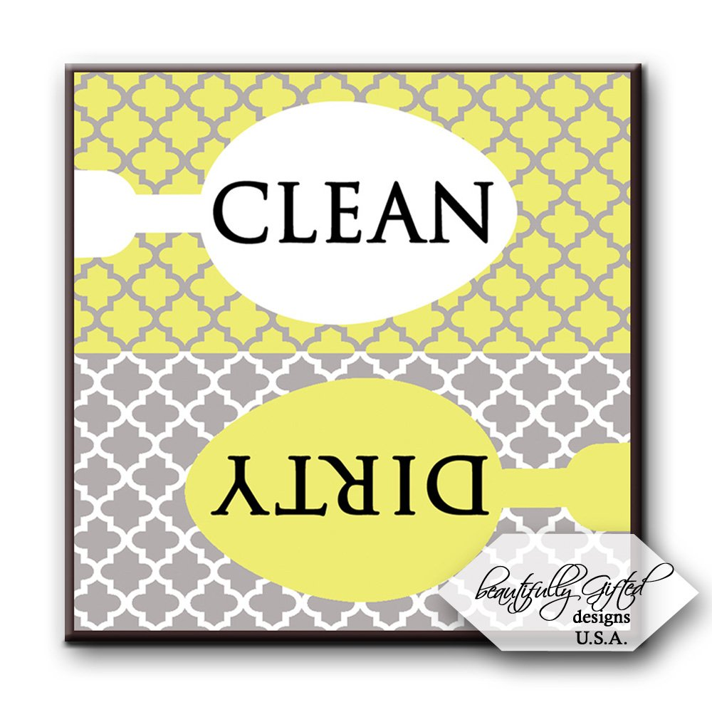 Dishwasher Magnet Clean Dirty Sign - Cute Quatrefoil Classy Moroccan Trellis Design - Home or Office Organization Tool - Yellow White Grey - 2.5 x 2.5 - Gag Gift Idea or Christmas Stocking Stuffers by BeautifullyGifted