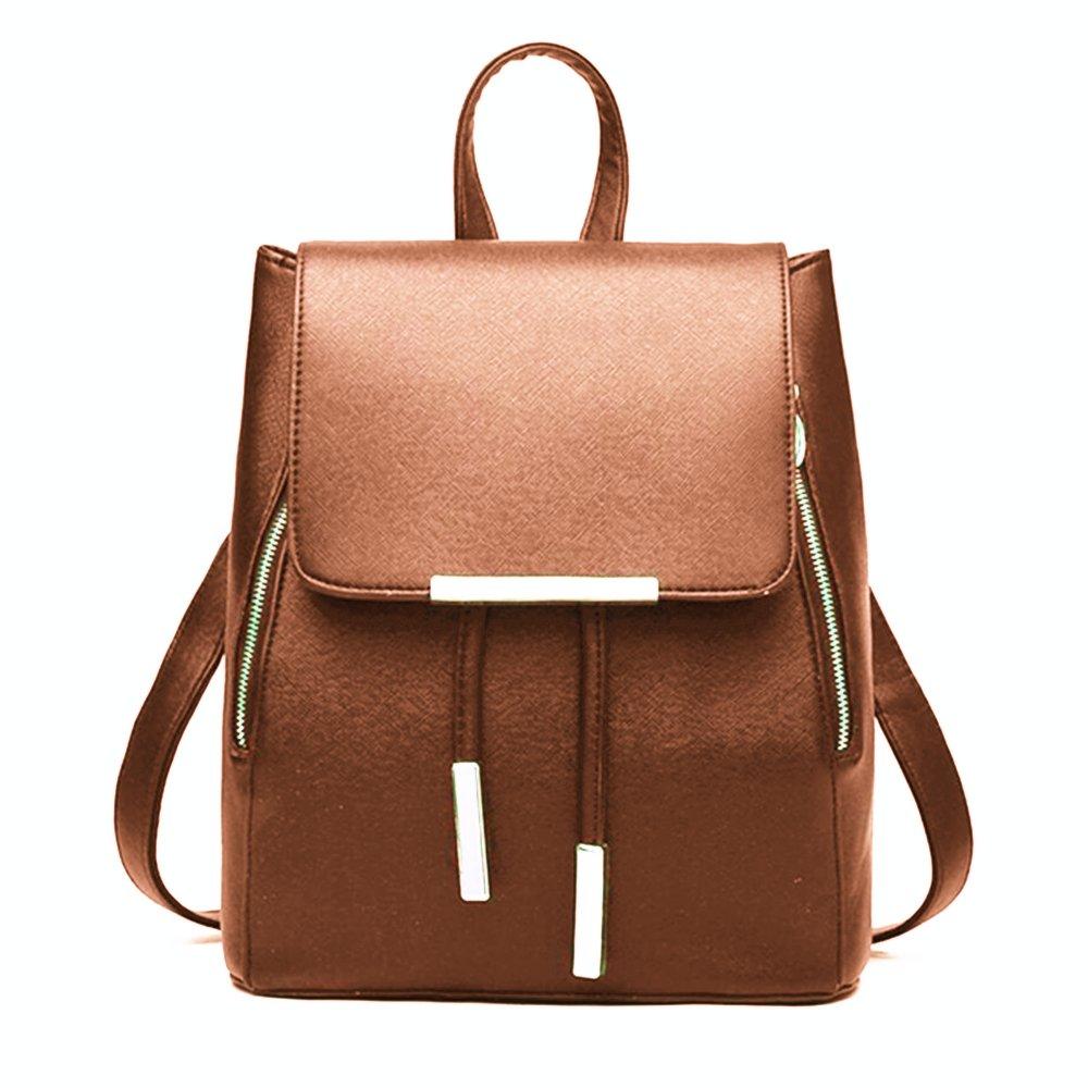 WINK KANGAROO Fashion Shoulder Bag Rucksack PU Leather Women Girls Ladies Backpack Travel bag (Brown 1)