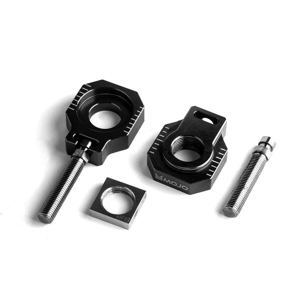 MojoMotoSport - KTM 20MM Axle Blocks Black - CNC Billet Anodized Aluminum - MOJO-KTM-20ABBLK