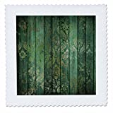 3dRose Anne Marie Baugh - Patterns - Chic Green Faux Printed Foil Damask On Faux Printed Green Wood - 22x22 inch Quilt Square (qs_283350_9)