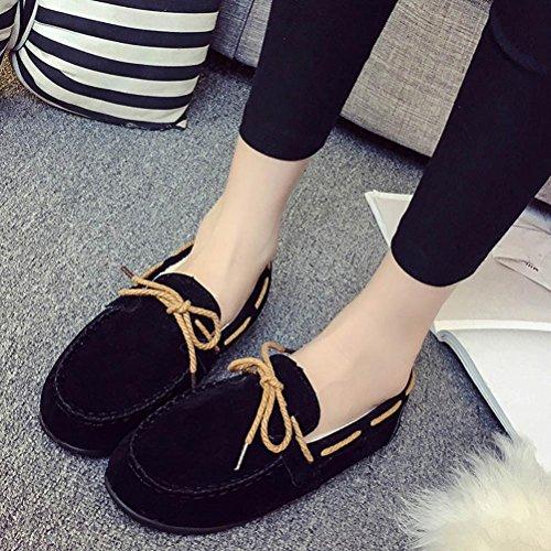donne scarpe gomma Black piatto 5 inverno UK rotonda 4 autunno Similpelle casual Flats morbida caldi Black Hlhn piselli 1xgwqPSP
