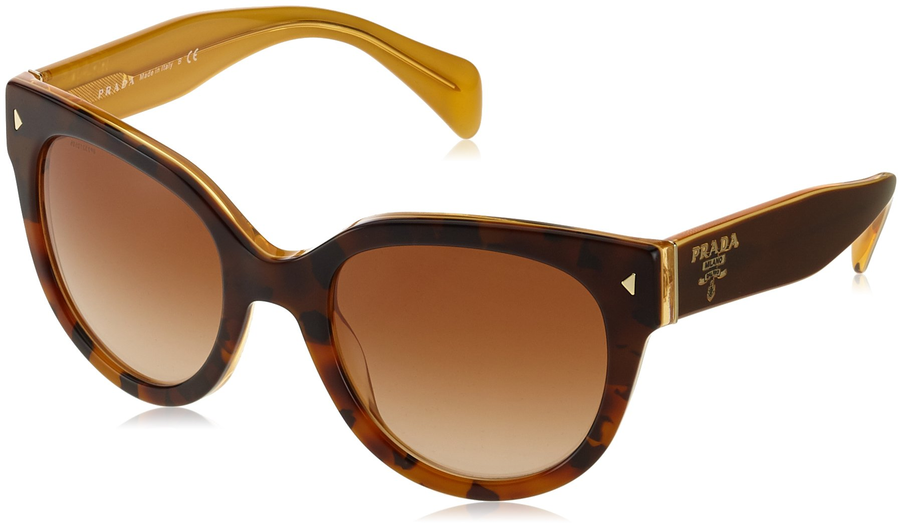 Prada Women's PRL17OS FAL-1Z1 Sunglasses, Top Light Havana/Opal Yellow/Brown Gradient, 54mm