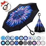 : ZOMAKE Double Layer Inverted Umbrella Cars Reverse Umbrella, UV Protection Windproof Large Straight Umbrella for Car Rain Outdoor With C-Shaped Handle(Blue Flower)