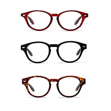 21ce59d182bd Viscare Stylish Round Men Women Spring Hinged Vintage Professor Fashion  Reading Readers Glasses 3 Pairs (