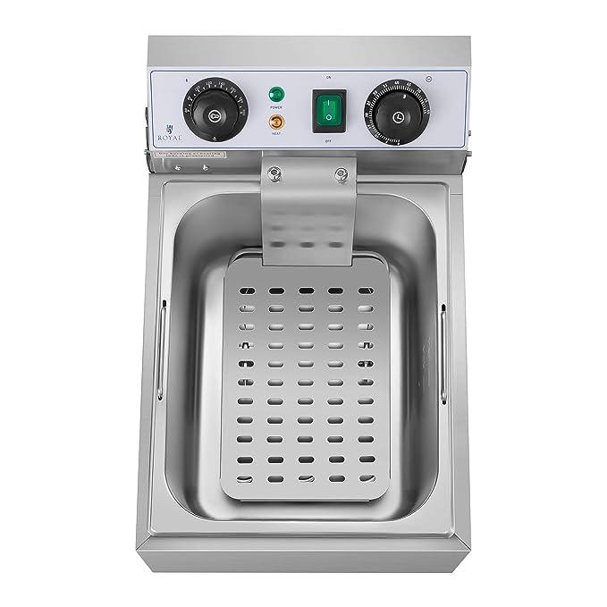 Royal Catering Freidora Eléctrica Para Hostelería 10 Litros 230 V RCTF 10EB (3.200 Watt, Temporizador 60 Min, Temperatura: 50-200 °C): Amazon.es: Hogar