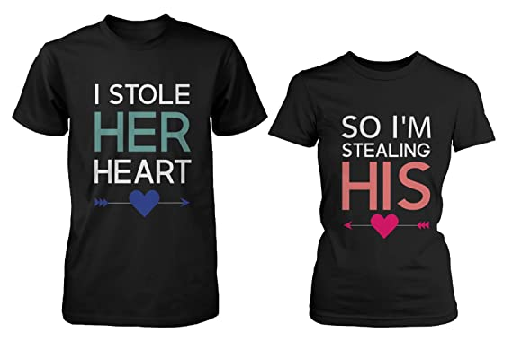 His and Her Matching T-Shirts for Couples - I Stole Her Heart, So
