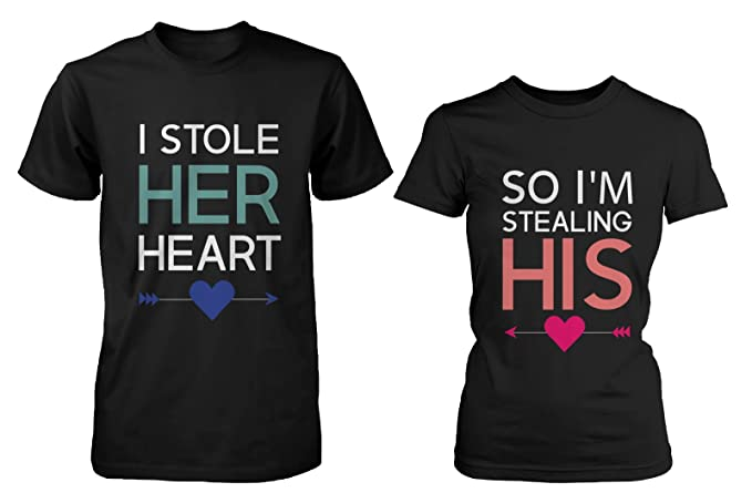 65ca189b Amazon.com: His and Her Matching T-Shirts for Couples - I Stole Her Heart,  So I'm Stealing His: Clothing