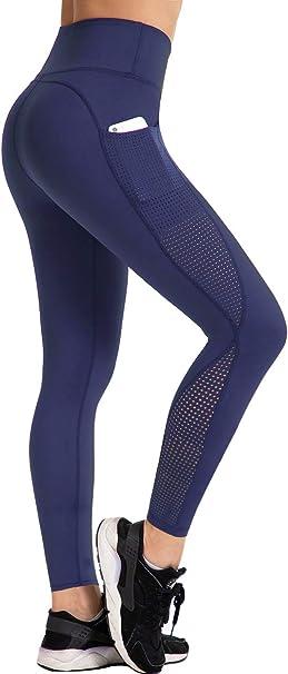 Amazon.com: UURUN - Leggings de cintura alta para yoga, con ...