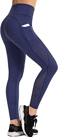 UURUN High Waist Yoga Capris Mesh Leggings Workout Running Pants Casual Tights with Pockets - Non See Through Fabric